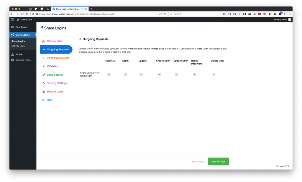 share logins outgoing configuration