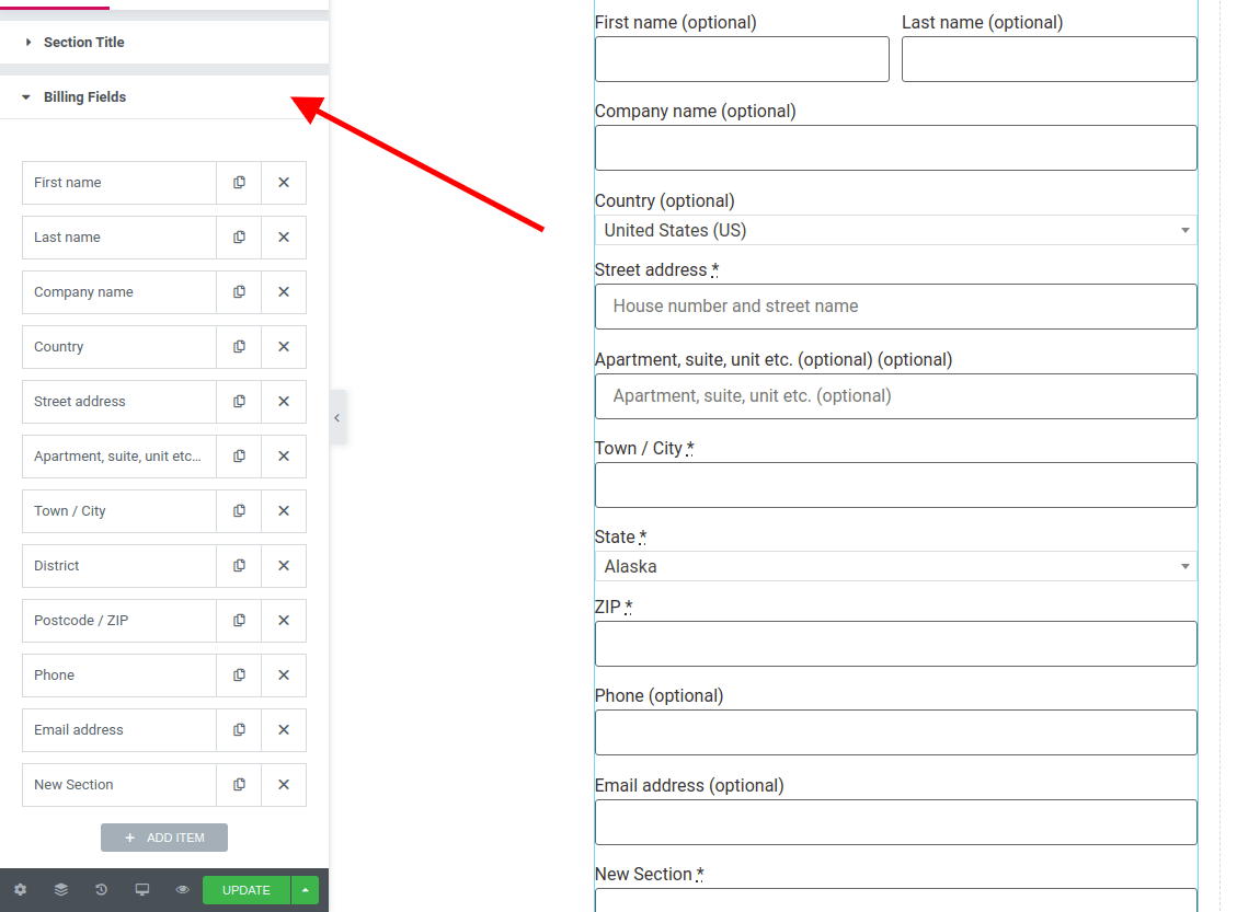 WooCommerce checkout fields