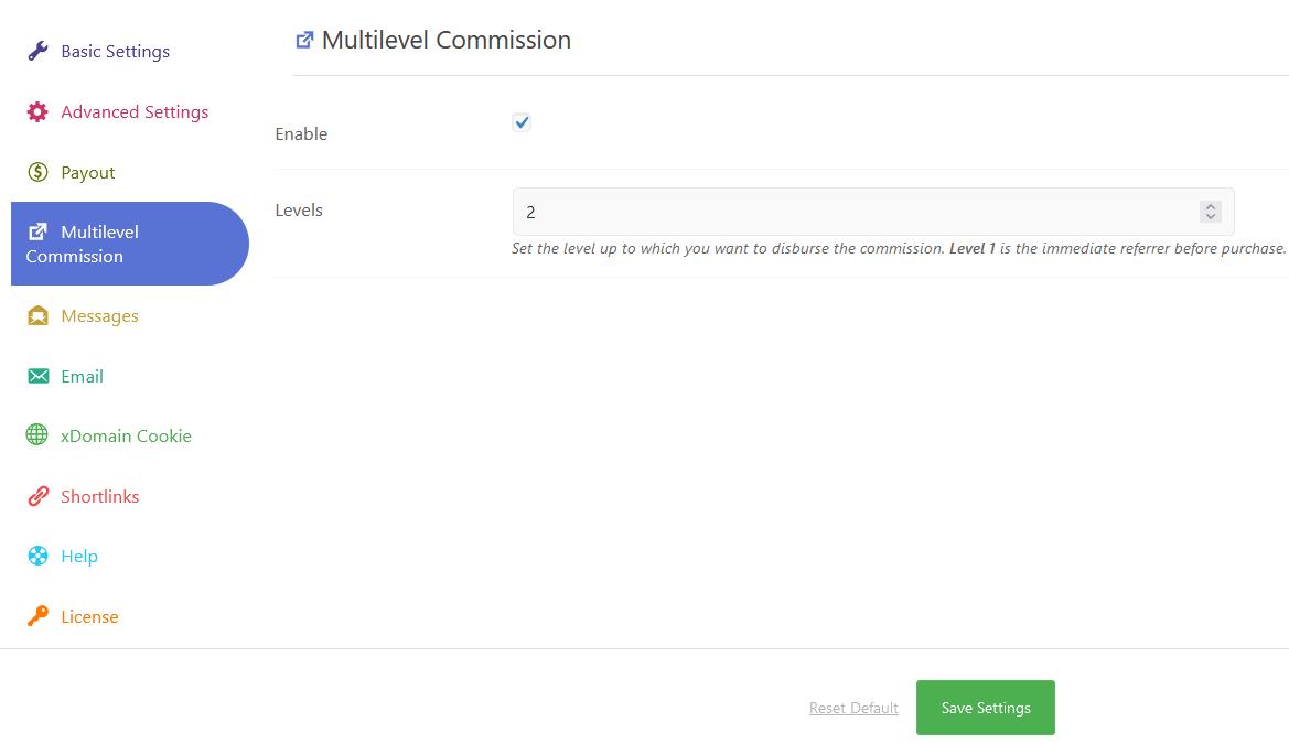 Multi Level Affiliate Commission
