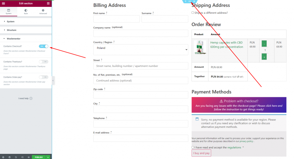 Section with billing, shipping, order review, and payment methods