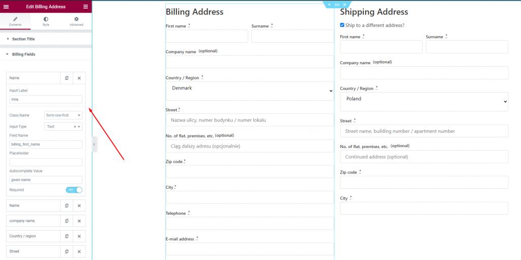 billing fields of billing widget
