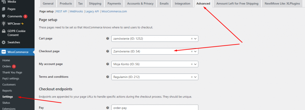 assign new page on WooCommerce