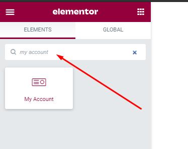 Search WC Designer my account widget