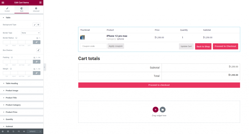Style cart page